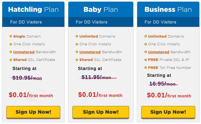 Hosting Price Chart