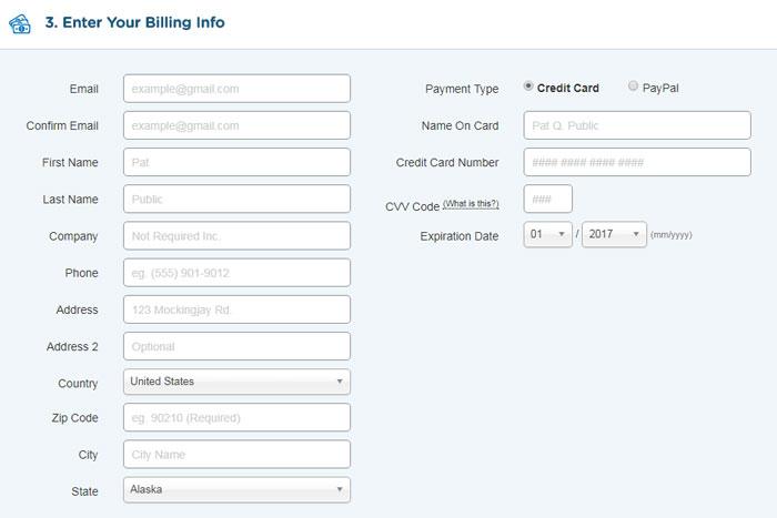 enter billing details for your purchase