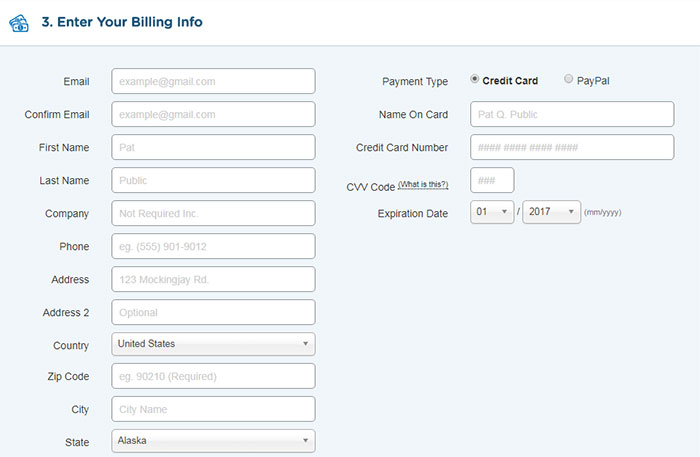 Step 3: Giving the billing details