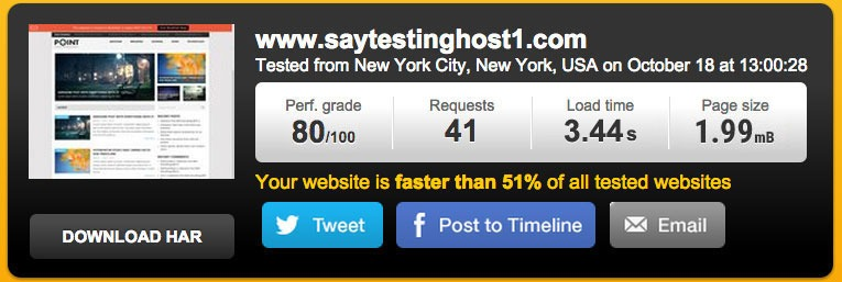 Page load speed of test website at InMotion hosting