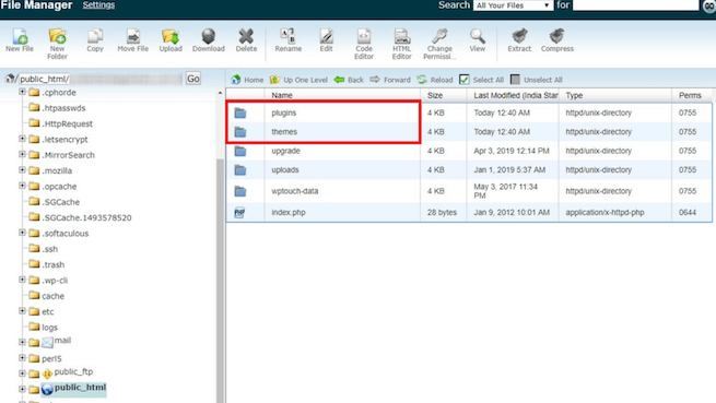 Choose themes or plugins folder